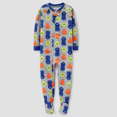 Baby Boys' Monsters Footed Pajama - Just One You™ Made by Carter's® Gray 18M