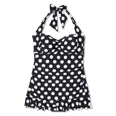 Women's Plus Size Polka Dots Swim Dress Black 20W - VM