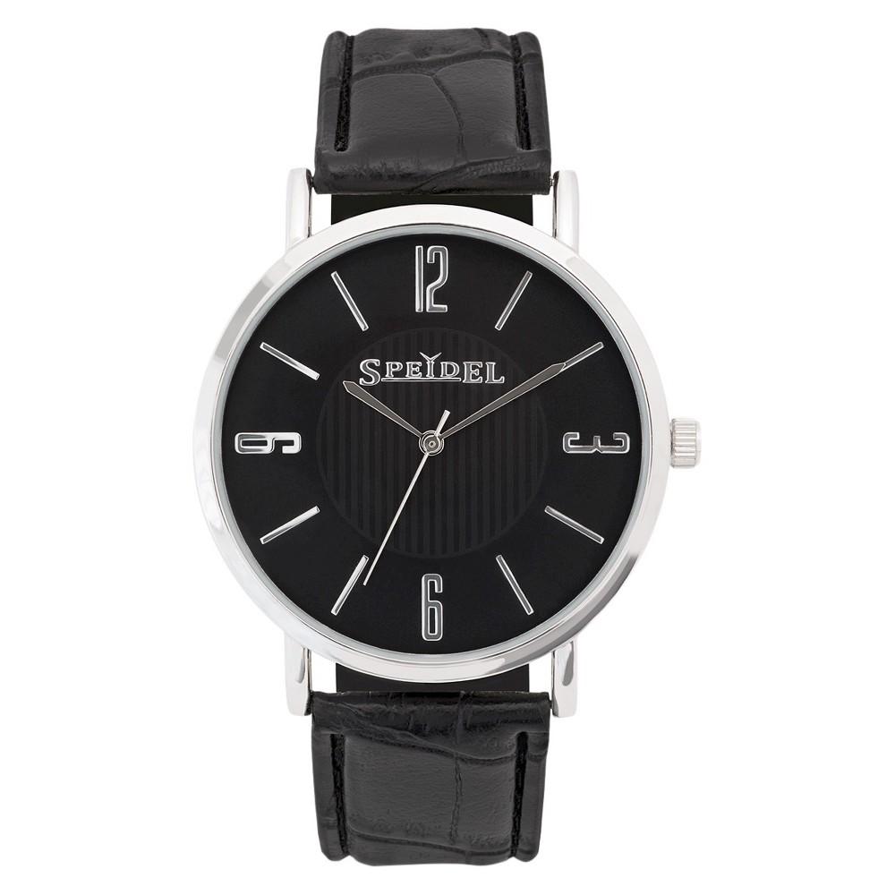 Speidel Ultra Thin Mens Leather Watch, Black Face - Black
