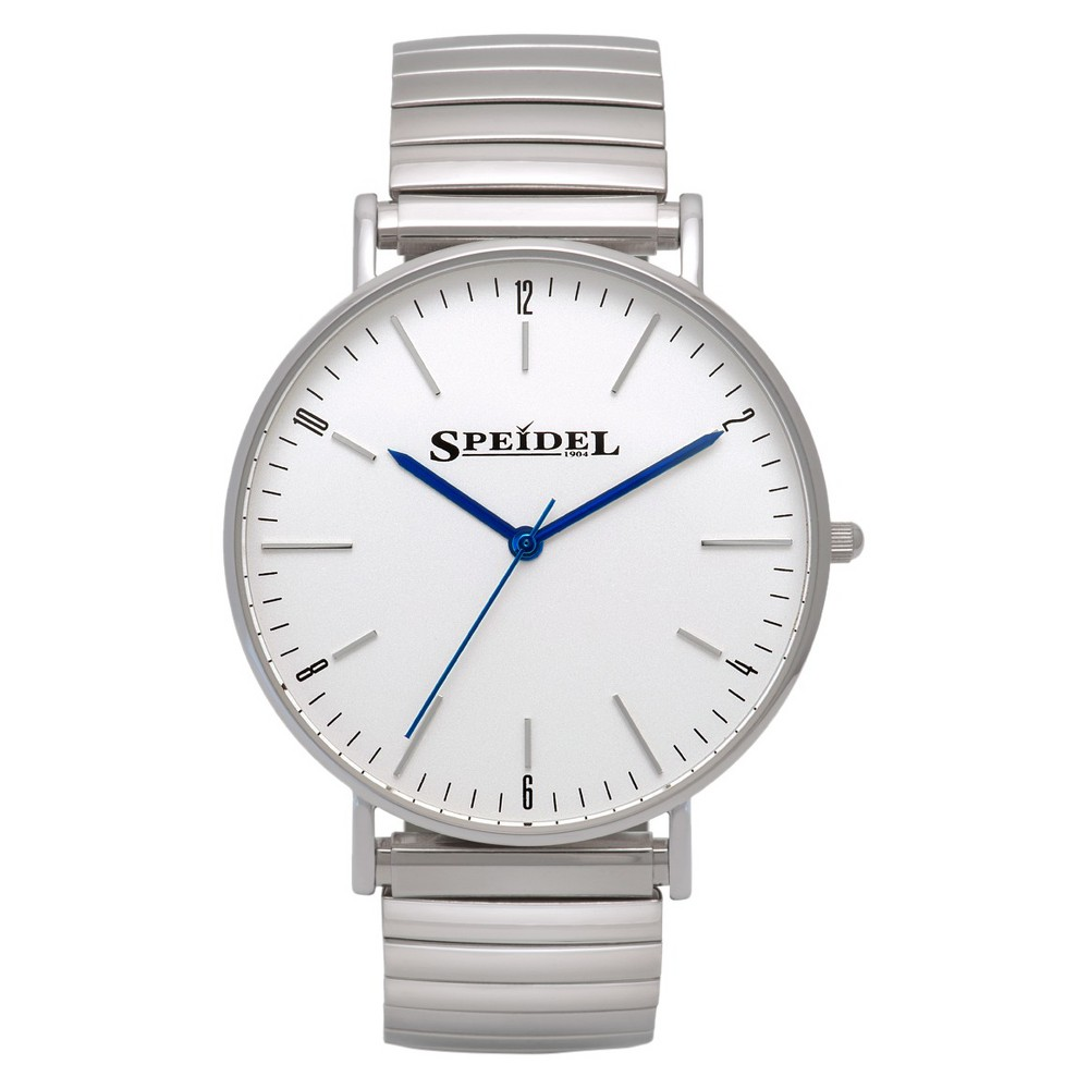 Speidel Ultra Thin Mens Expansion Watch, White Face - Stainless Steel, Silver