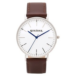 Speidel Ultra Thin Men's Leather Watch, White Face- Brown
