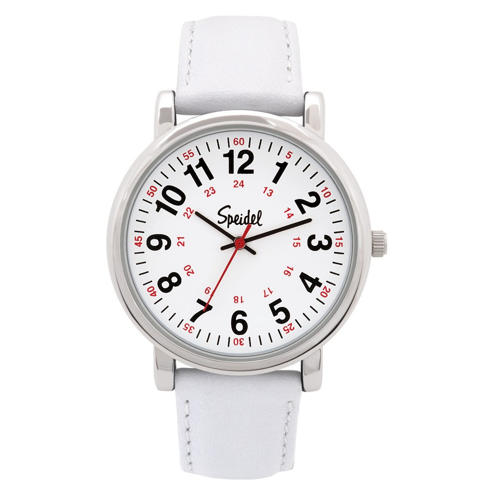Speidel Medical Watch, White Face, Leather Band - White, ...