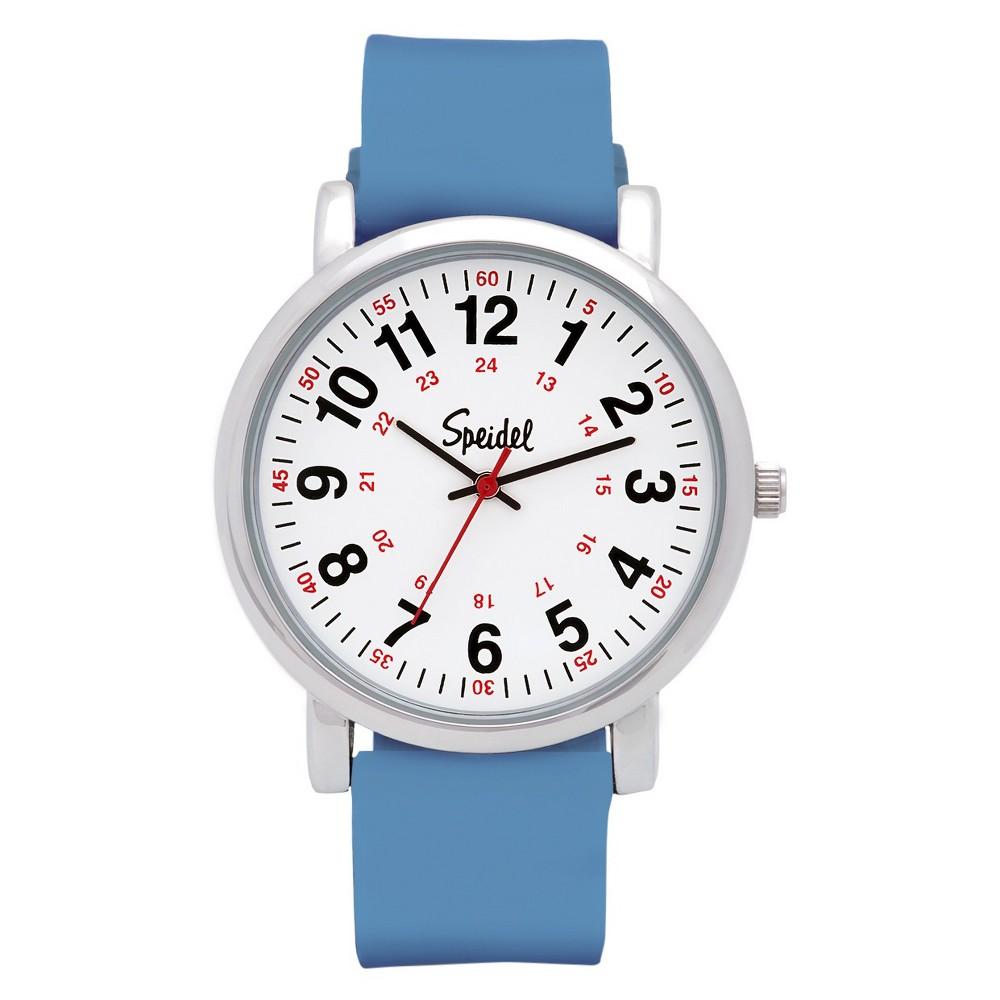 Speidel Medical Watch, White Face, Silicone Band - Blue, Adult Unisex
