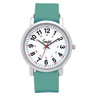 Speidel Medical Watch, White Face, Silicone Band- Green