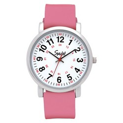 Speidel Medical Watch, White Face, Silicone Band - Pink
