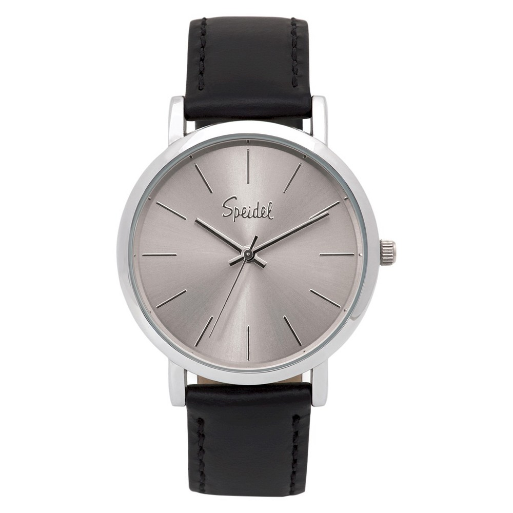 Speidel Sunburst Watch, Silver Face, Leather Band - Black, Adult Unisex
