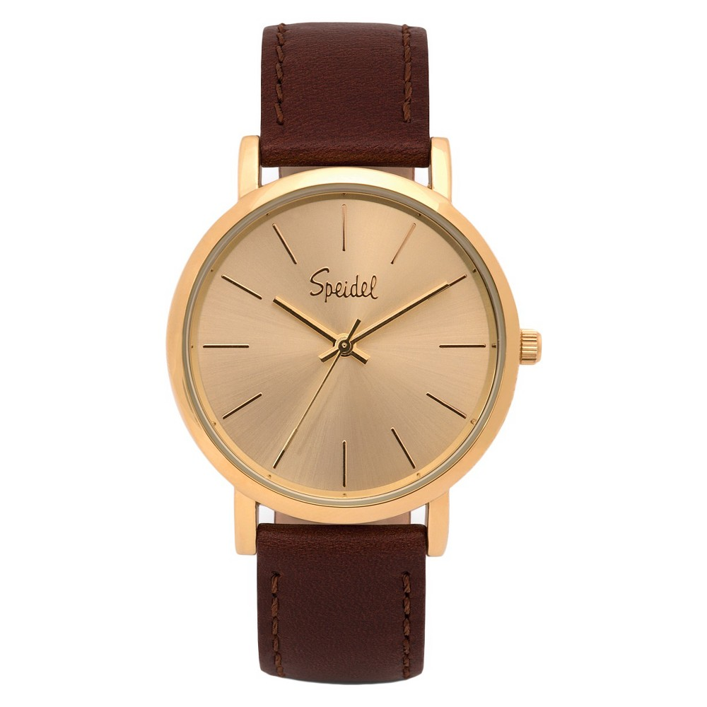 Speidel Sunburst Watch, Gold Face, Leather Band - Brown, Adult Unisex