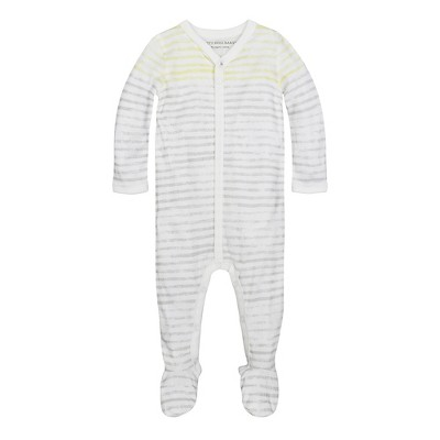 Burt's Bees Baby® Organic Watercolor Stripe Coverall & Hat Set - Gray 0-3M