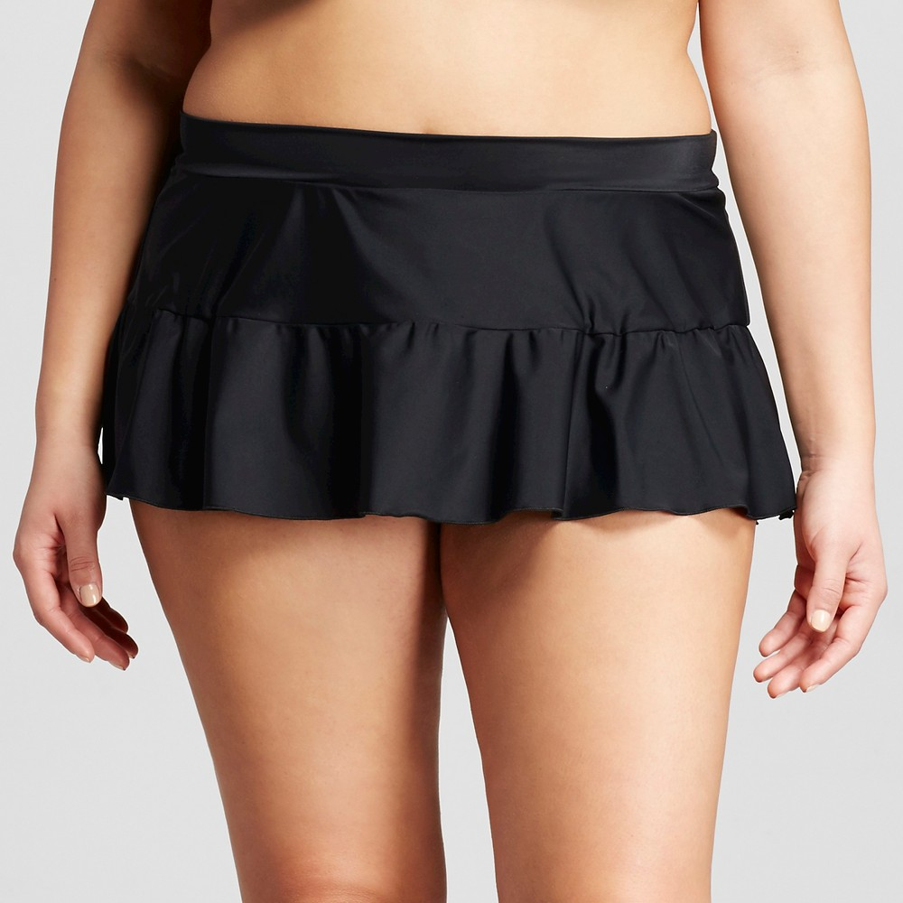 Women's Plus Size Solid Swim Skirts Black 1X - VM Find Swimwear Bottoms at Target.com! • Nylon/Elastane for performance • Partial lining for comfort and modesty • Ruffle skirt has coverage and bounce Celebrate the sun in the Women's Plus Size Solid Swim Skirt by VM. This delightful plus size swimwear gives you a little extra coverage but keeps the look cute and sassy. Size: 1X. Color: Black. Gender: Female. Age Group: Adult.