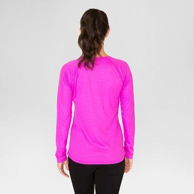 Women's Long Sleeve Embossed Tee - Magenta (Pink) S - Rbx