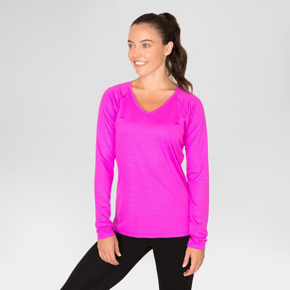 Women's Long Sleeve Embossed Tee – Magenta (Pink) M – Rbx