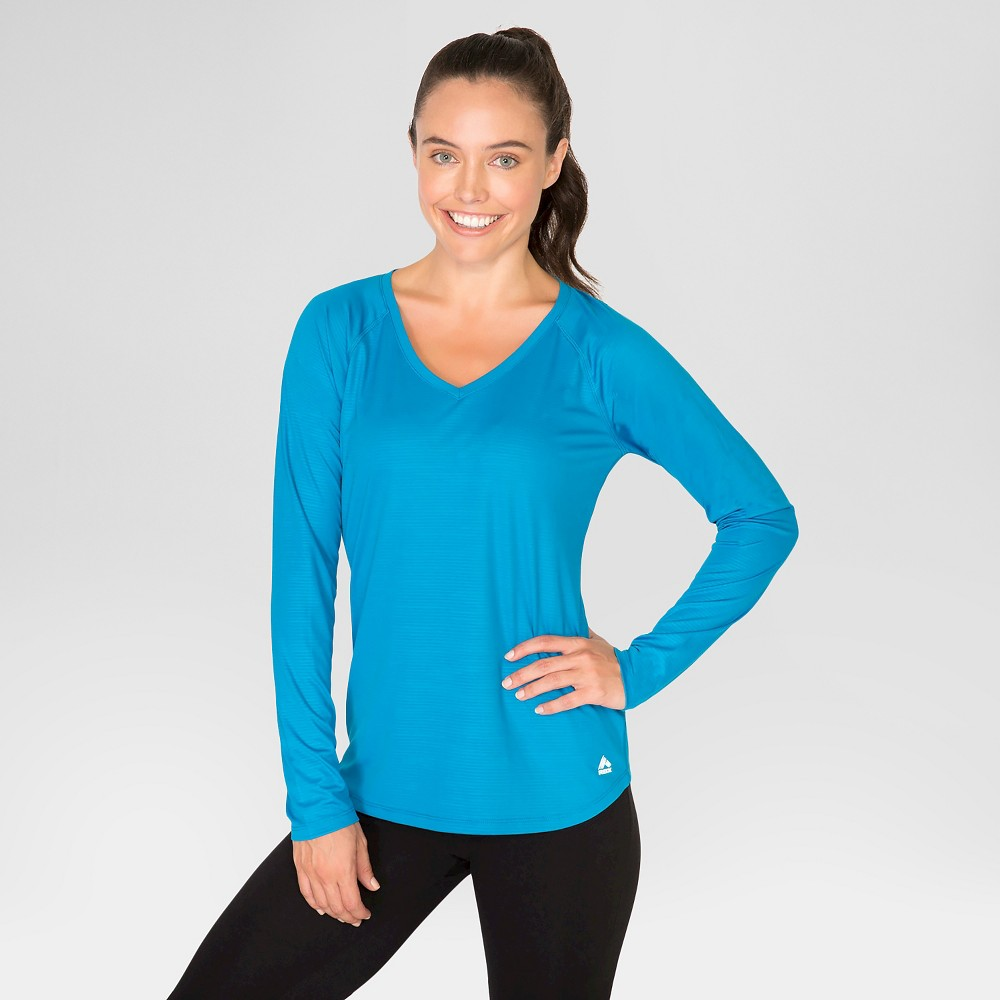 Women's Long Sleeve Embossed T-Shirt - Blue L - Rbx