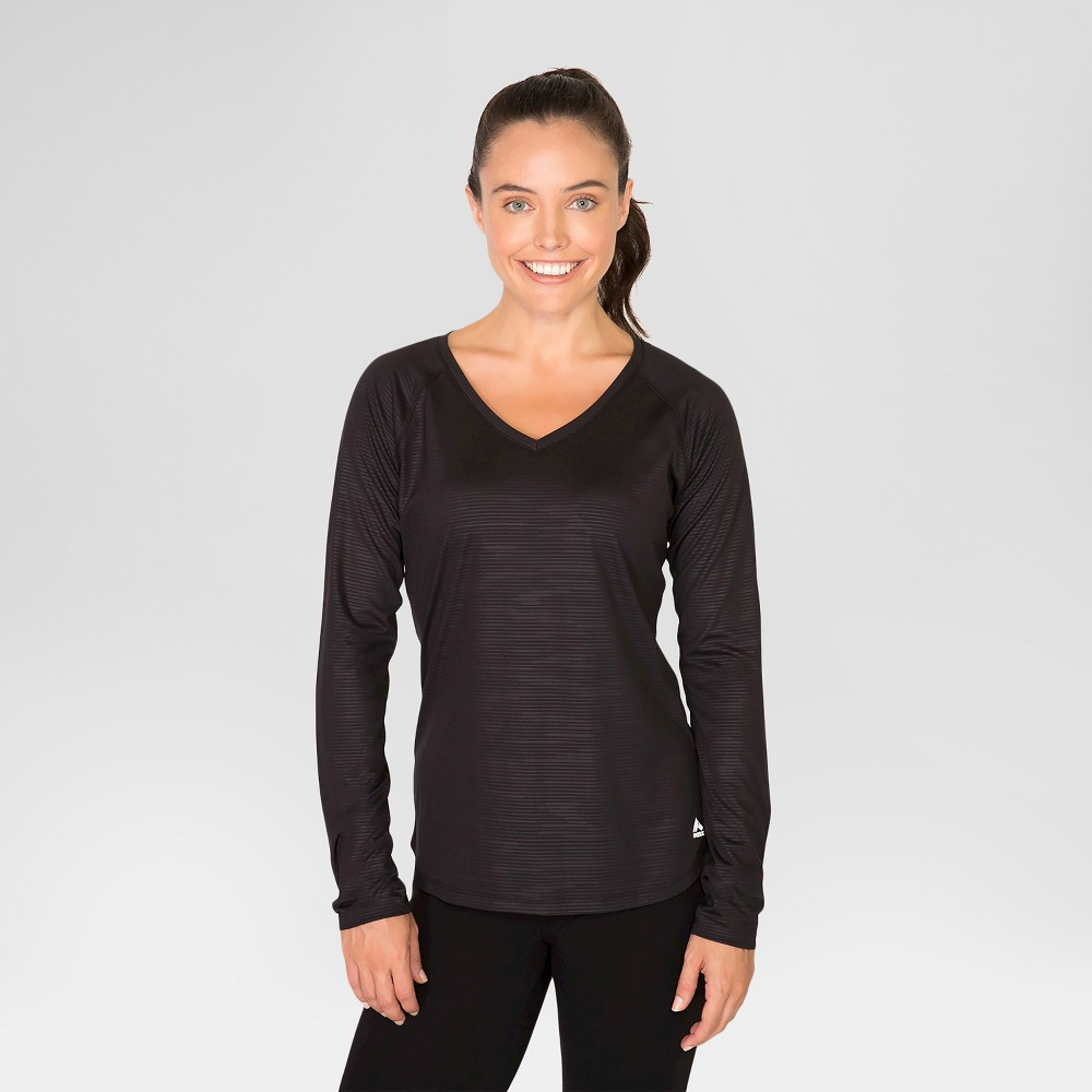 Women's Long Sleeve Embossed T-Shirt - Black S - Rbx