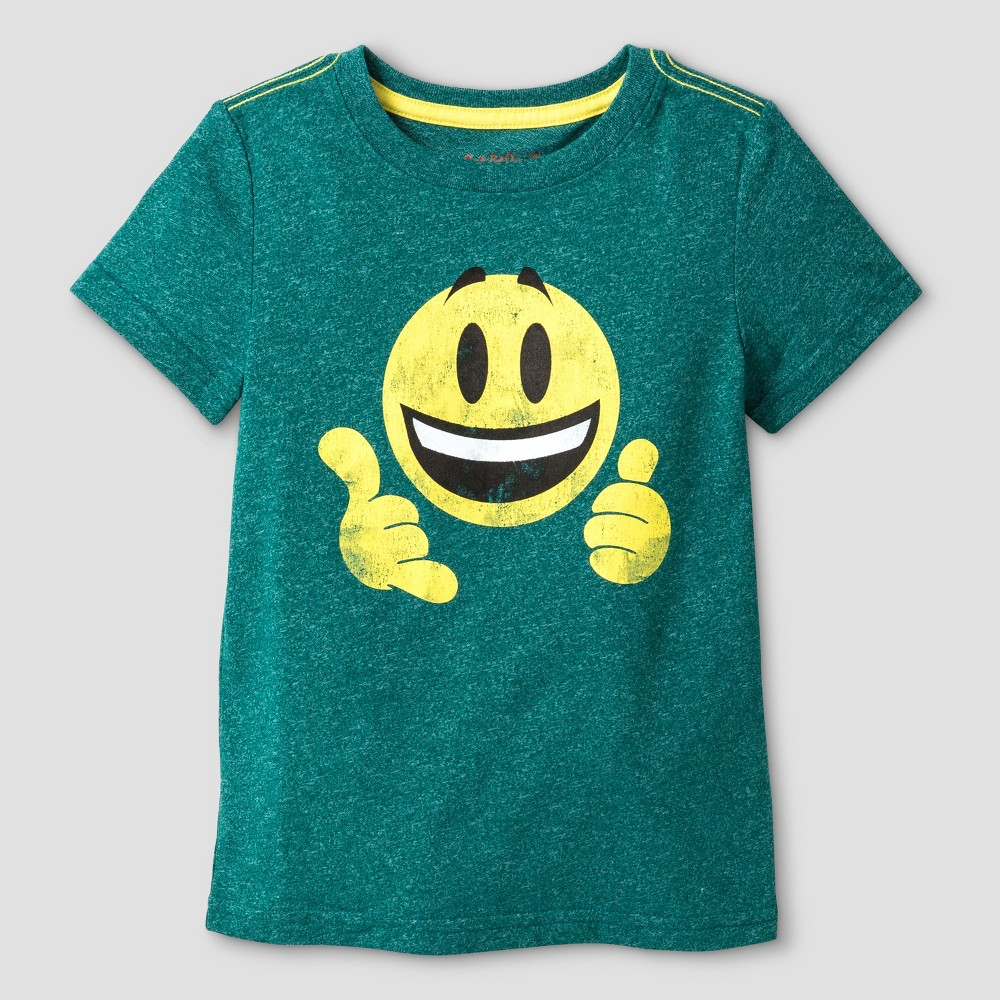 Toddler Boys' Smiley Face Graphic T-Shirt Cat & Jack – Green 3T, Toddler Boy's
