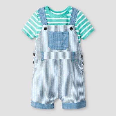 Baby Boys' Snap Shoulder Bodysuit and Shortall Set - Cat & Jack™ Green/Chambray 0-3 Months