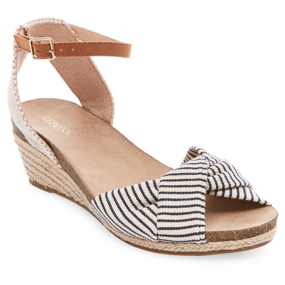 Womens Brynn Footbed Wedge Quarter Strap Sandals - Merona Navy (Blue) 5.5