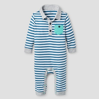 Baby Boys' Coverall - Cat & Jack™ Blue Stripe 6-9 Months