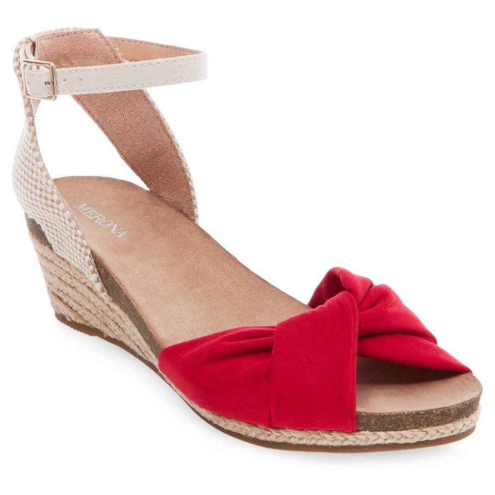 Womens Brynn Footbed Wedge Quarter Strap Sandals - Merona Red 7.5