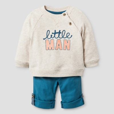 Baby Boys' Raglan Pullover Cuffable Pants - Cat & Jack™ Oatmeal Heather/Turquoise NB