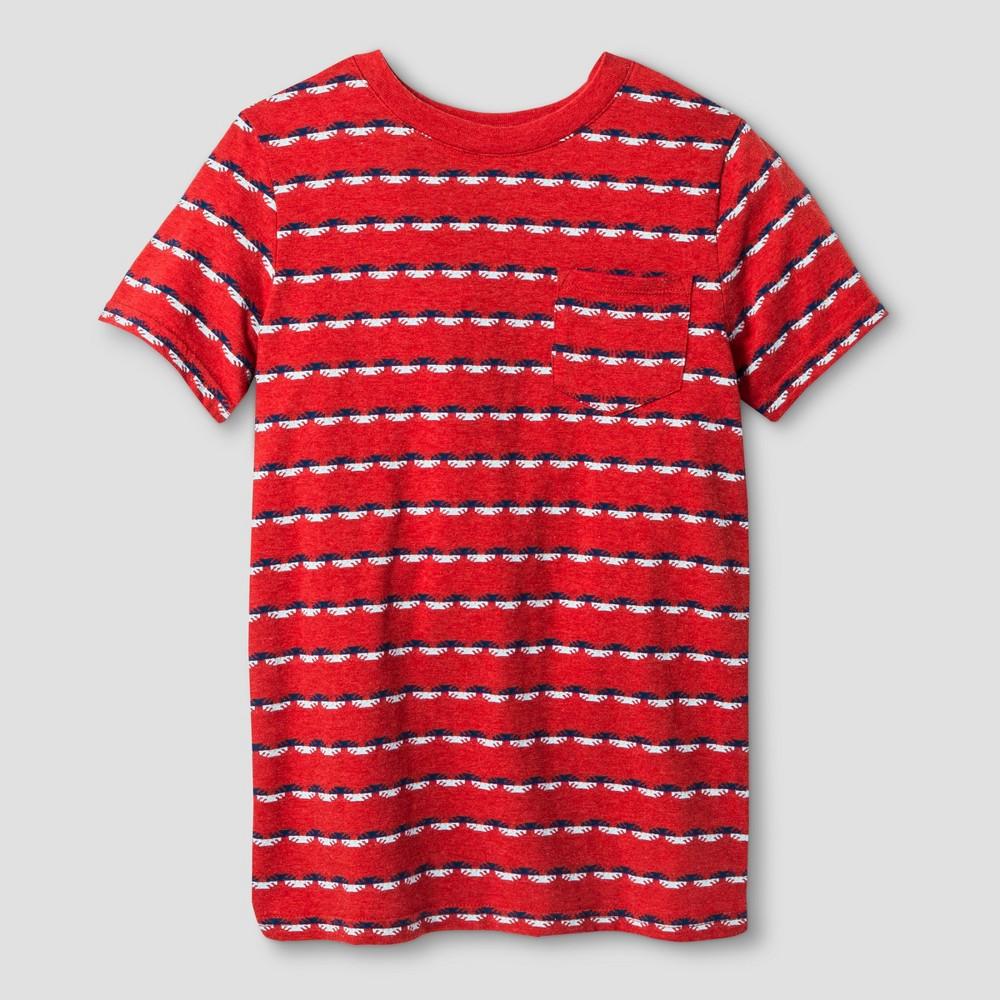 Boys Textured Stripe Pocket T-Shirt - Cat & Jack Red/Blue XS