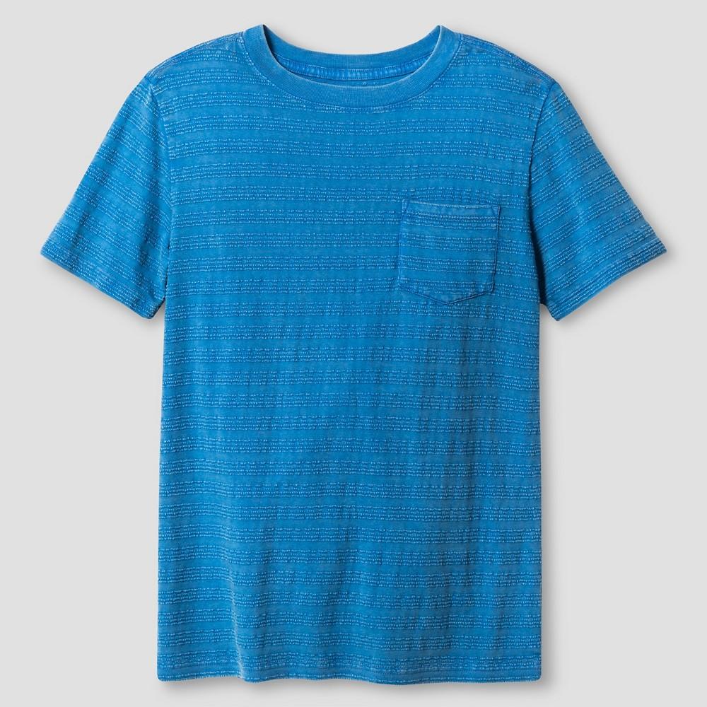 Boys Textured Stripe Pocket T-Shirt - Cat & Jack Bluebell XS, Blue