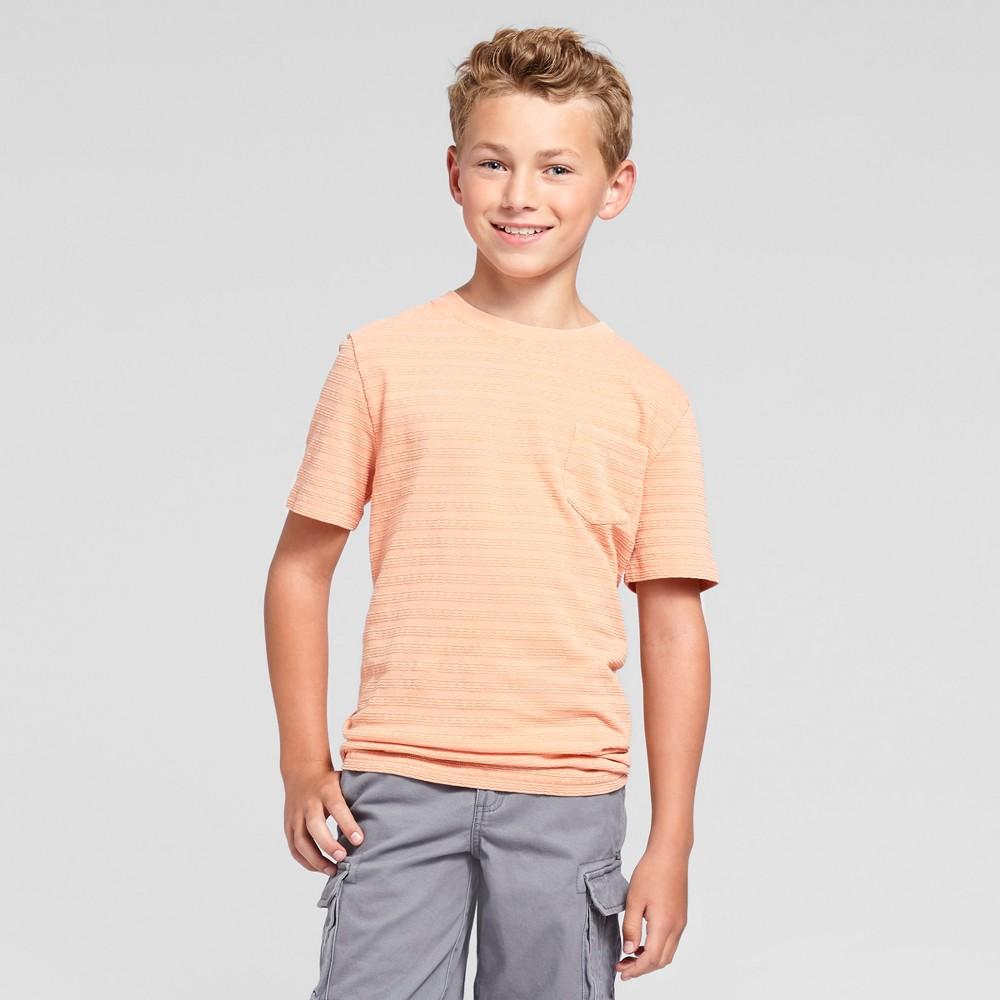 Boys Textured Stripe Pocket T-Shirt - Cat & Jack Melon XS, Pink
