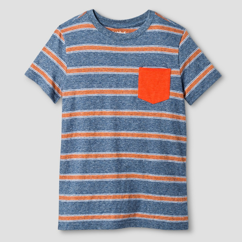 Boys Textured Stripe Pocket T-Shirt - Cat & Jack Blue/Orange L