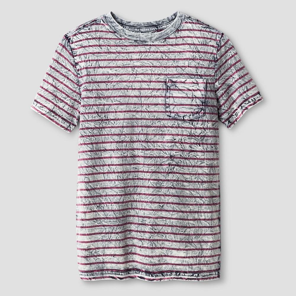 Boys Textured Stripe Pocket T-Shirt - Cat & Jack Gray L