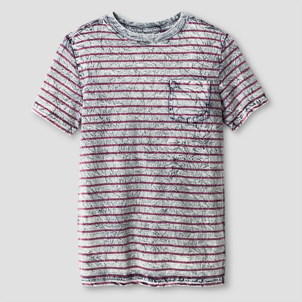 Boys Textured Stripe Pocket T-Shirt - Cat & Jack Gray M