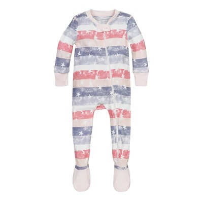 Burt's Bees Baby® Girls' Organic Stars & Stripes Sleeper - Light Pink 3-6M