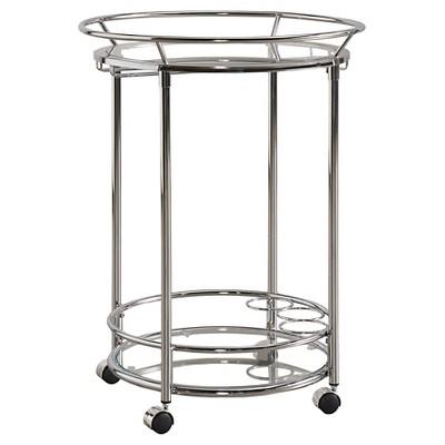 Elva Round Metal + Glass Bar Cart   Chrome   Inspire Q