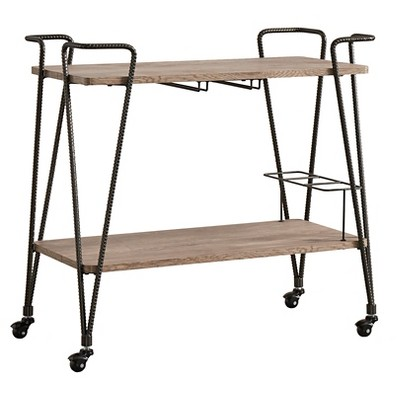 Emerson Industrial Wood + Metal Bar Cart - Brown - Inspire Q