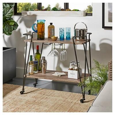 Emerson Industrial Wood + Metal Bar Cart   Brown   Inspire Q