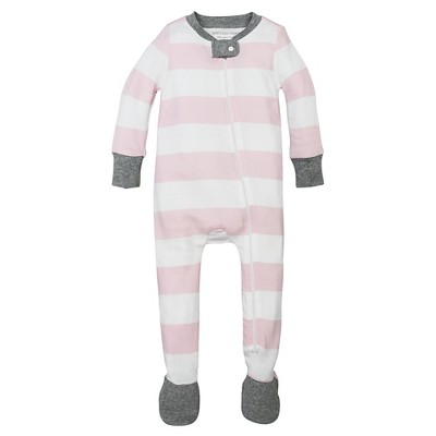 Burt's Bees Baby® Girls' Organic Cotton Long Sleeve Rugby Stripe Sleeper - Blossom Pink