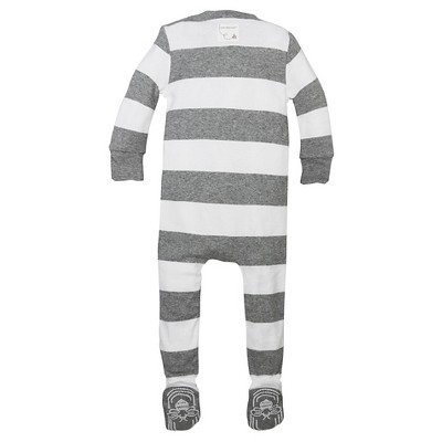 Burt's Bees Baby® Boys' Organic Cotton Long Sleeve Rugby Stripe Sleeper - Heather Gray