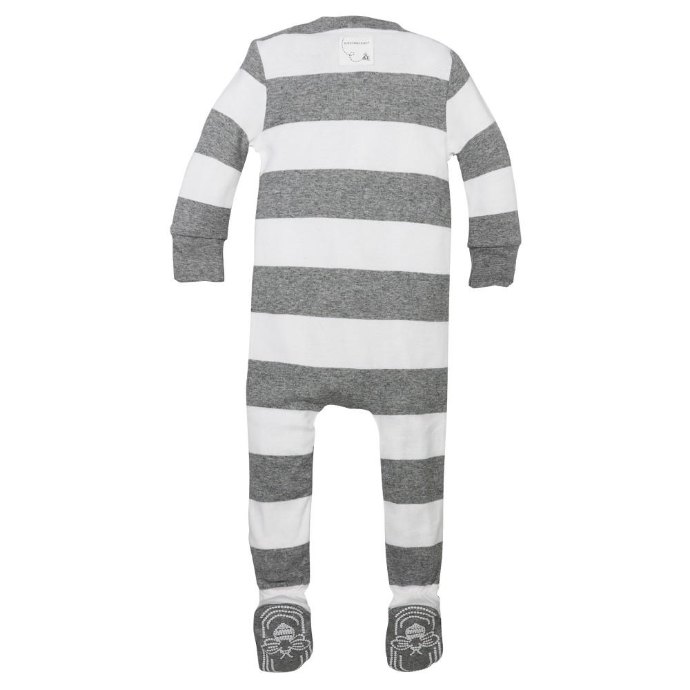 Burts Bees Baby Boys Organic Rugby Stripe Sleeper - Heather Gray 6-9M, Size: 6-9 M