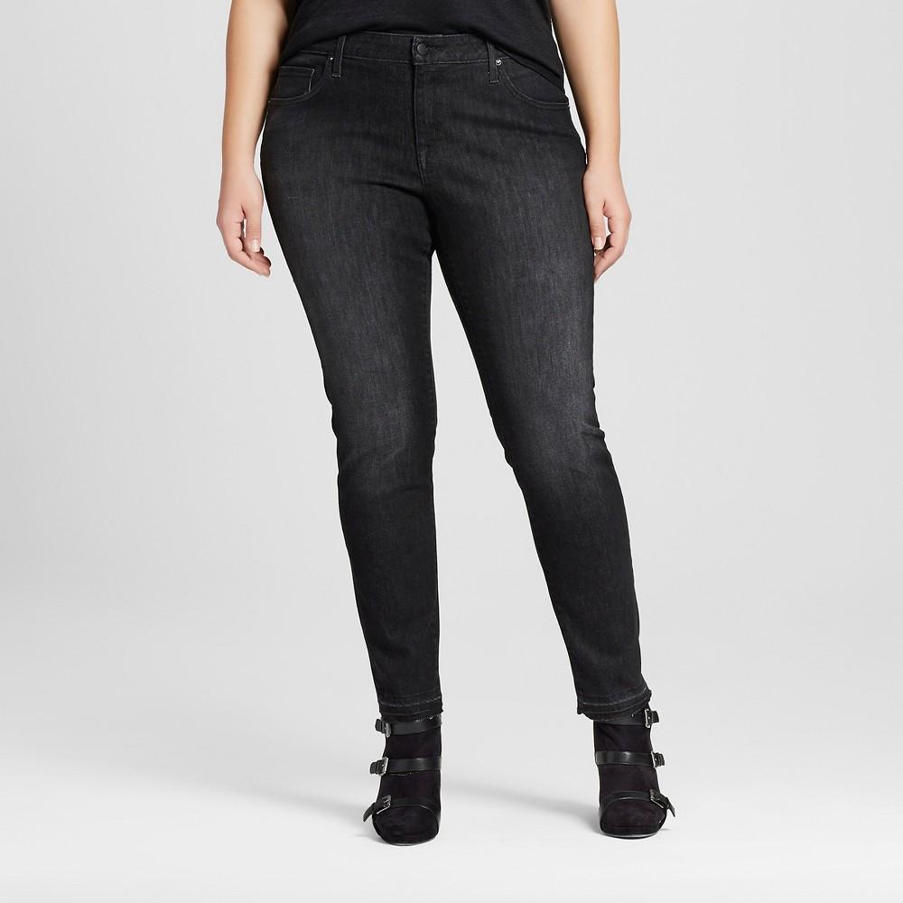 48382f59ea7 Best Price Women s Plus Size Skinny Jeans Black Wash 24W - Ava   Viv ...