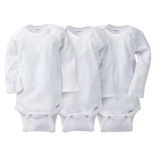 Gerber® Onesies® Baby 3 Pack Long Sleeve Bodysuits with Mitten Cuff