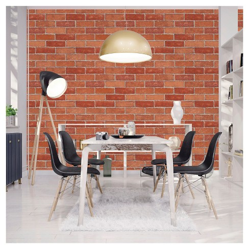 Devine Color Textured Red Brick Peel Stick Wallpaper