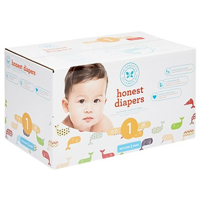 Honest Company Club Pack Diapers, Whales - Size 1 (80 ct)