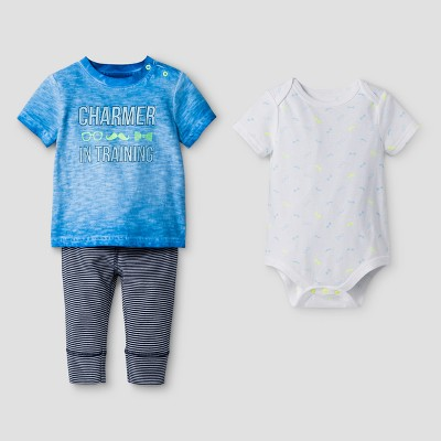 Baby Boys' 3-Piece Bodysuit, Tee and Leggings Set Cat & Jack™ Turquoise/Stripe 12 Months
