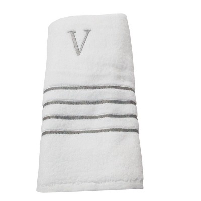Monogram Bath Towel V - White/Skyline Gray - Fieldcrest®
