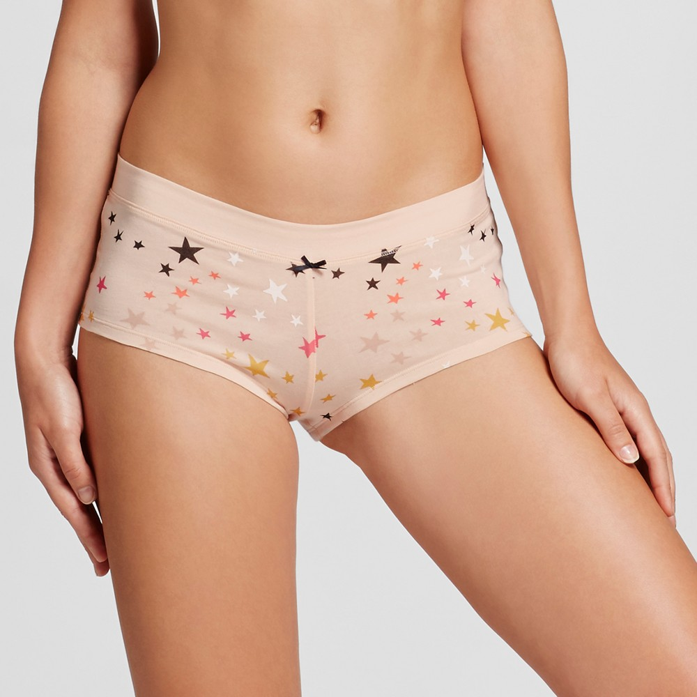 Womens Cotton Boyshorts - Xhilaration - Feather Peach Star Print M