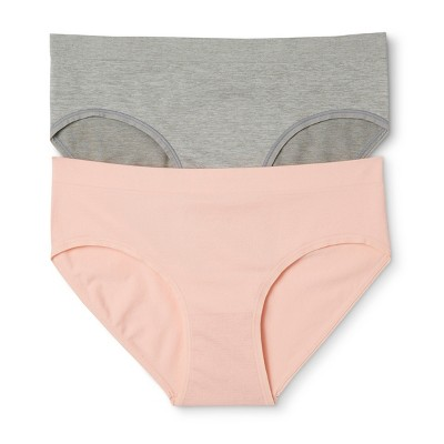 Women's 2-pk Seamless Hipster - Gilligan & O'Malley™ - Heather Gray/Peach Divine S