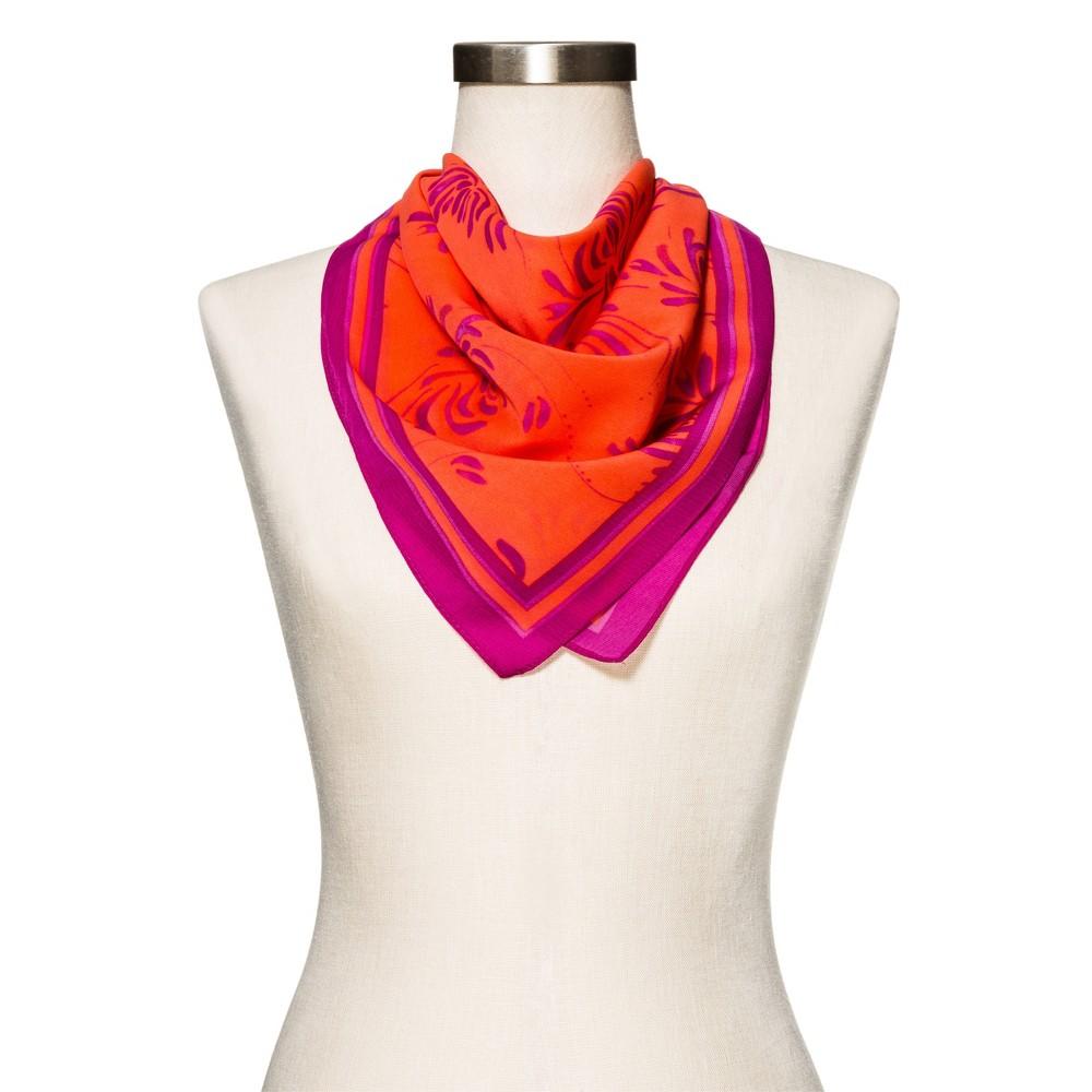 Womens Orange Floral Fashion Scarf - Merona