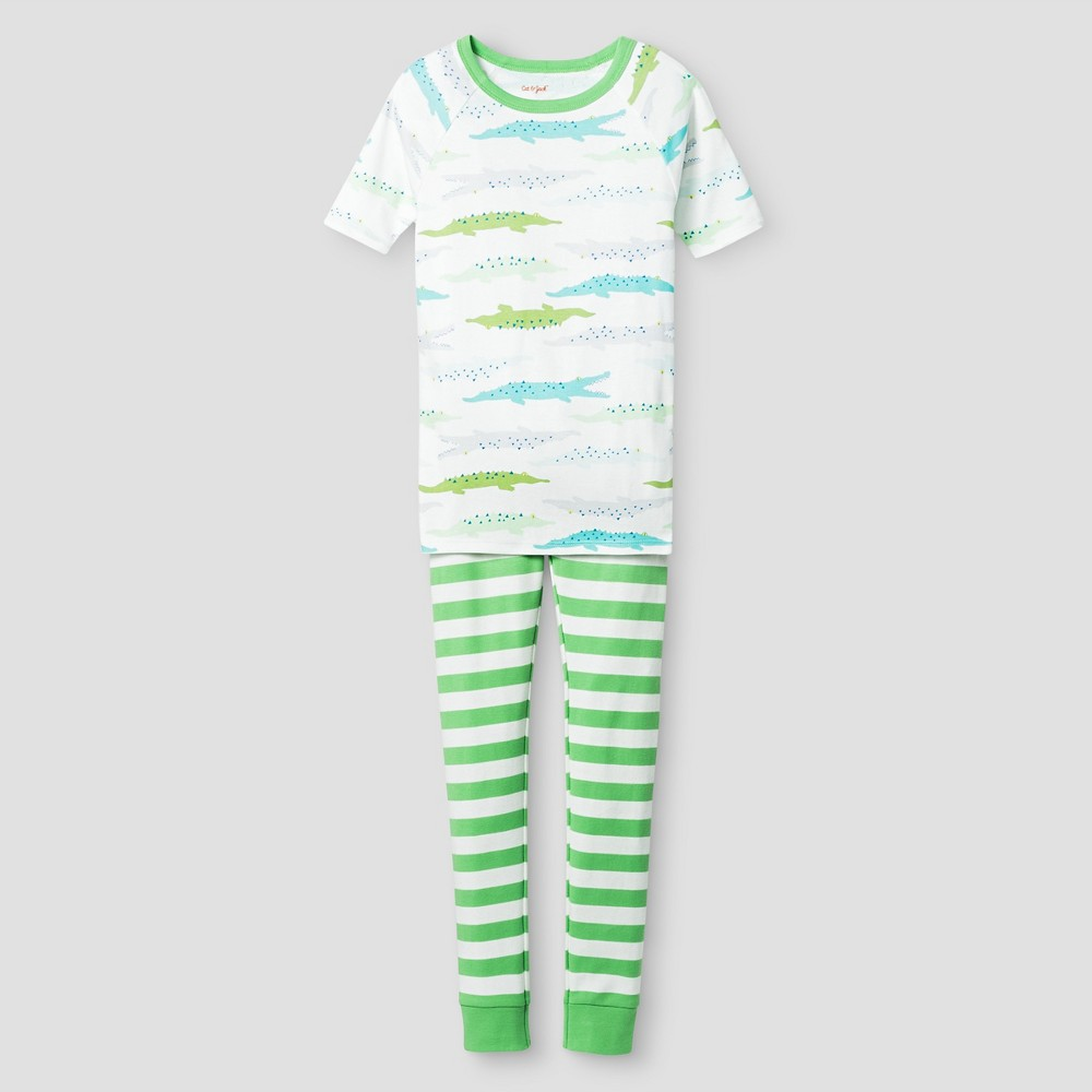 Boys Organic Cotton Pajama Set - Cat & Jack Green 4