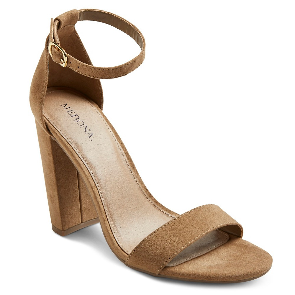 Womens Lulu High Block Heel Sandal Pumps with Ankle Straps - Merona Taupe (Brown) 12