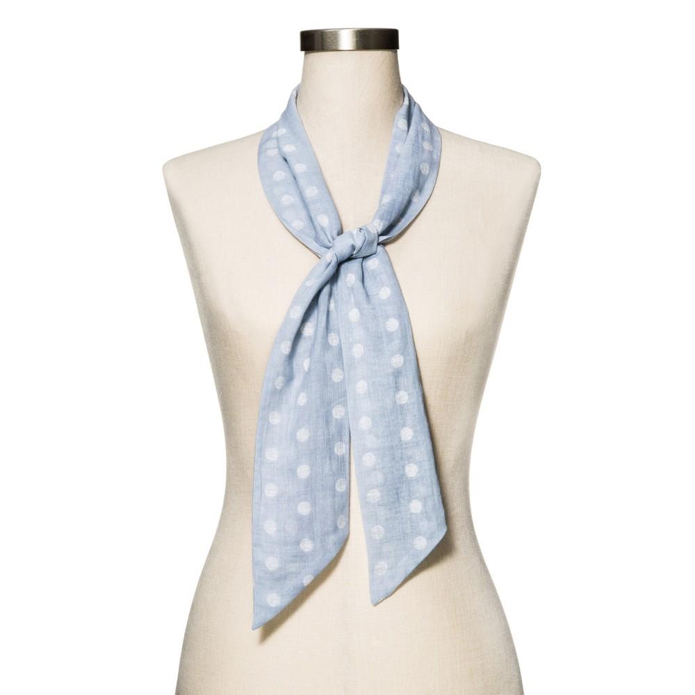 Womens Blue Polka Dot Fashion Scarf - Merona, Blue/Ivory