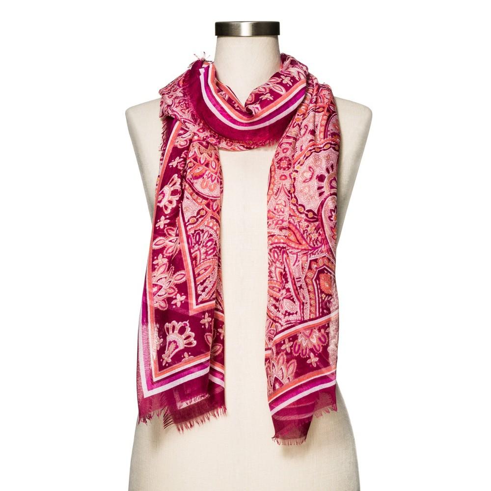 Womens Burgundy Paisley Fashion Scarf - Merona, Burgandy