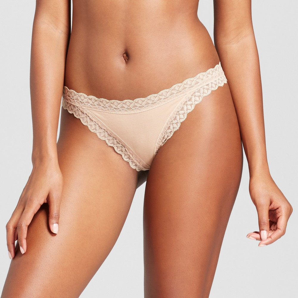 Womens Cotton and Lace Thong - Honey Beige XL